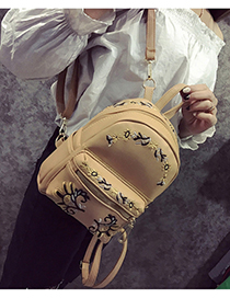 Trendy Khaki Embroidery Flower Decorated Simple Backpack