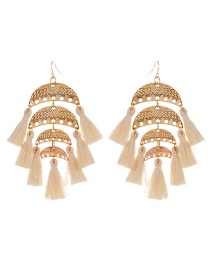 Fashion Beige Semicircle Shape Decorated Tassel Earrings
