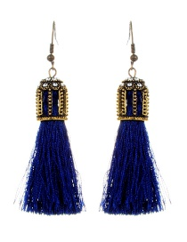 Fashion Sapphire Blue Tassel Decorated Hollow Out Earrings