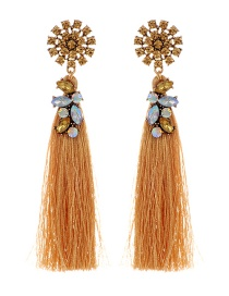 Fashion Khaki Diamond&tassel Decorated Pure Color Earrings
