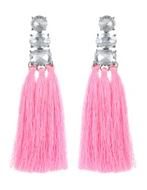 Fashion Pink Square Shape Diamond Decorated Tassel Earrings