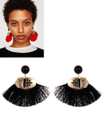 Retro Black Fan Shape Decorated Earrings