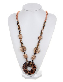 Fashion Champagne Leopard Decorated Long Chain Necklace