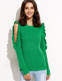Elegant Green Pure Color Decorated Sweater