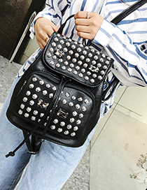 Personality Black Round Shape Rivet Decorated Backpack (large)