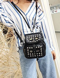 Personality Black Round Shape Rivet Decorated Backpack (small)