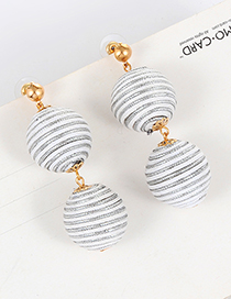Fashoin White Color-matching Decorated Round Earrings