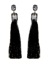 Elegant Black Square Shape Decorated Tassel Earrings