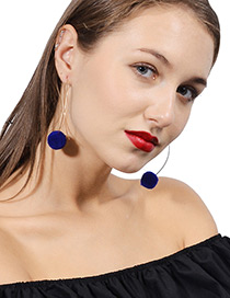 Lovely Blue Fuzzy Ball Decorated Pom Earrings