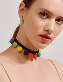 Lovely Multi-color Fuzzy Ball Decorated Pom Necklace