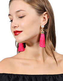 Bohemia Plum-red Round Shape Decorated Tassel Earrings