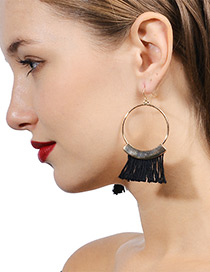 Bohemia Black Tassel Decorated Round Earrings