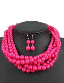 Elegant Plum-red Pure Color Decorated Jewelry Sets