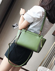 Elegant Green Pure Color Decorated Bag