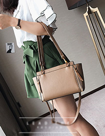 Elegant Khaki Pure Color Decorated Bag