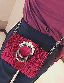 Elegant Claret-red Round Shape Decorated Shoulder Bag