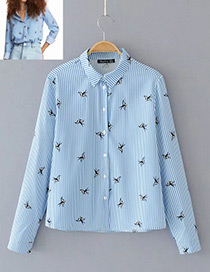 Fashion Blue Swallows Decorated Shirt