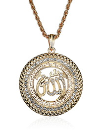 Elegant Gold Color Round Shape Decorated Necklace
