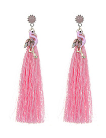 Lovely Pink Flamingo Shape Decorated Tassel Earrings