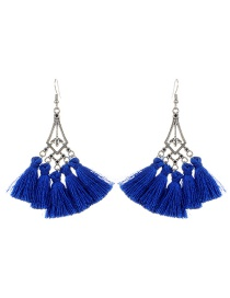 Bohemia Sapphire Blue Hollow Out Decorated Tassel Earrings