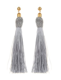 Bohemia Gray Pure Color Decorated Tassel Earrings