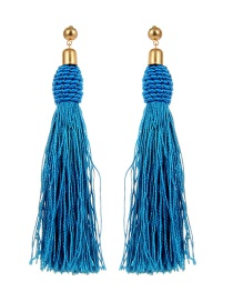 Bohemia Blue Pure Color Decorated Tassel Earrings