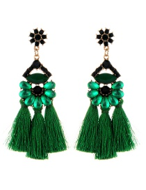Vintage Green Oval Shape Decorated Tassel Earrings