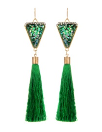 Retro Green Triangle Decorated Tassel Earrings