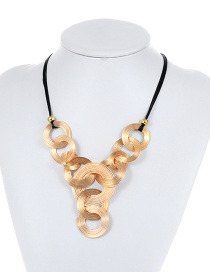 Exaggerated Gold Color Round Shape Decorated Short Chain Necklace