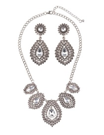 Luxury Silver Color Waterdrop Shape Diamond Decorated Jewelry Sets