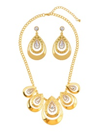 Exaggerated Gold Color Watershape Shape Diamond Decorated Jewelry Sets
