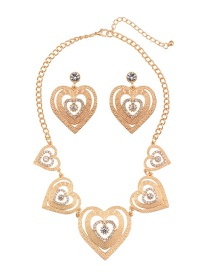 Vintage Gold Color Heart Shape Decorated Jewelry Sets