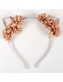 Lovely Orange Flower Shape Decorated Cat Ear Hair Clasp