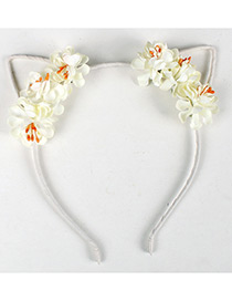 Lovely White Flower Shape Decorated Cat Ear Hair Clasp