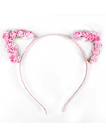 Lovely Pink Flower Shape Decorated Cat Ear Hair Clasp