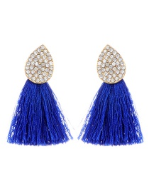 Bohemia Sapphire Blue Oval Shape Decorated Tassel Earrings