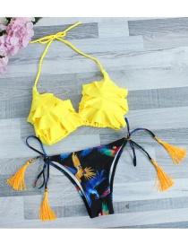 Lovely Yellow Tassel Decorated Swimwear