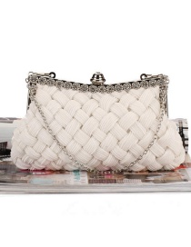 Elegant White Hand-woven Decorated Hand Bag