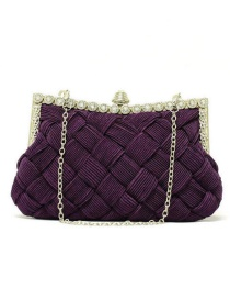 Elegant Purple Hand-woven Decorated Hand Bag
