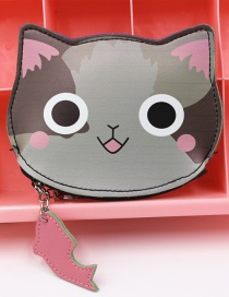 Cute Gray Cat Shape Decorated Coin Purse