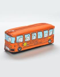 Fashion Orange Bus Pattern Decorated Pencil Case