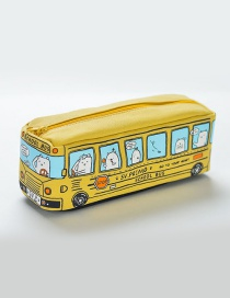 Fashion Yellow Bus Pattern Decorated Pencil Case