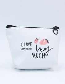 Cute White Strawberry Pattern Decorated Pencil Case