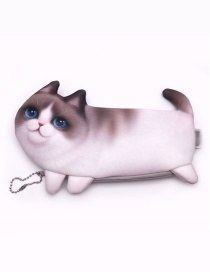 Cute Light Brown Cat Shape Decorated Coin Purse