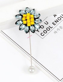 Elegant Yellow+blue Sunflower Shape Decorated Brooch