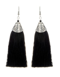 Bohemia Black Tassel Decorated Earrings