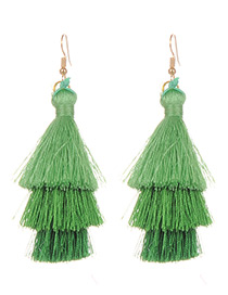 Fashion Green Pure Color Decorated Earrings
