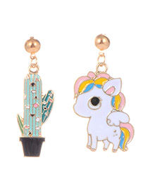Fashion Multi-color Unicorn&cactus Shape Decorated Earrings
