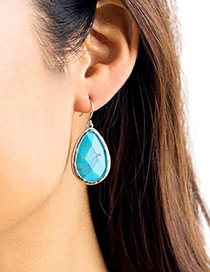 Fashion Blue Water Drop Decorated Earrings