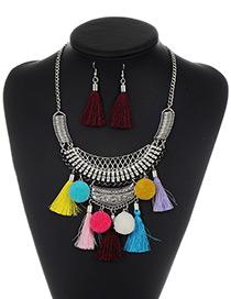 Fashion Multi-color Tassel Decorated Pom Necklace